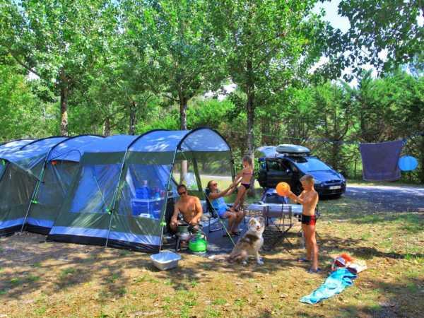 terrain de camping avec arbres et verdure