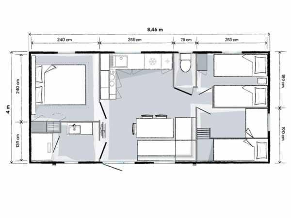 Plan technique vue intérieur locatif cottage familial